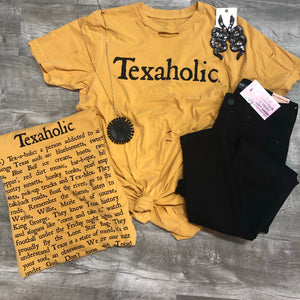 Mustard Distressed Texaholic Tee