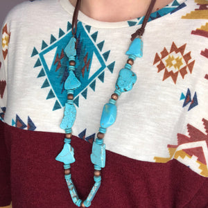 Turquoise Stone Beaded Necklace