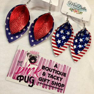 Red White & Blue Layered Earrings- 2 STYLES