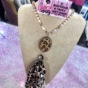 Ivory Beaded Leopard Pendant Fabric Tassel Necklace