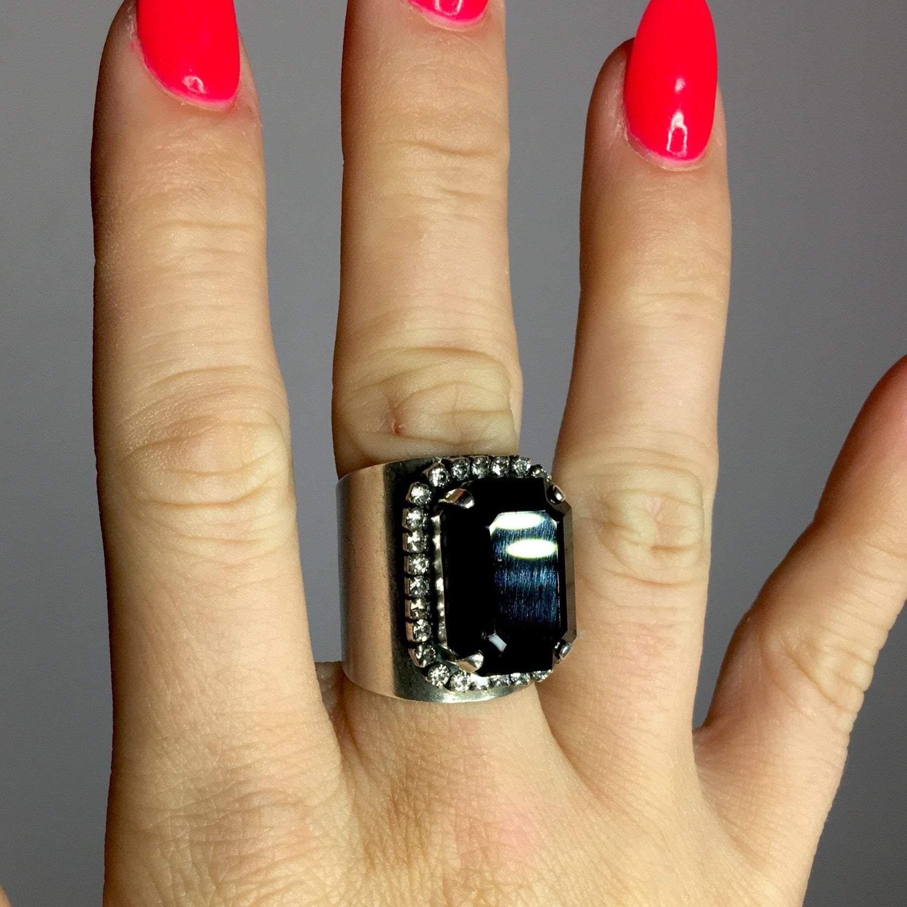 Pink Panache Black Crystal Ring
