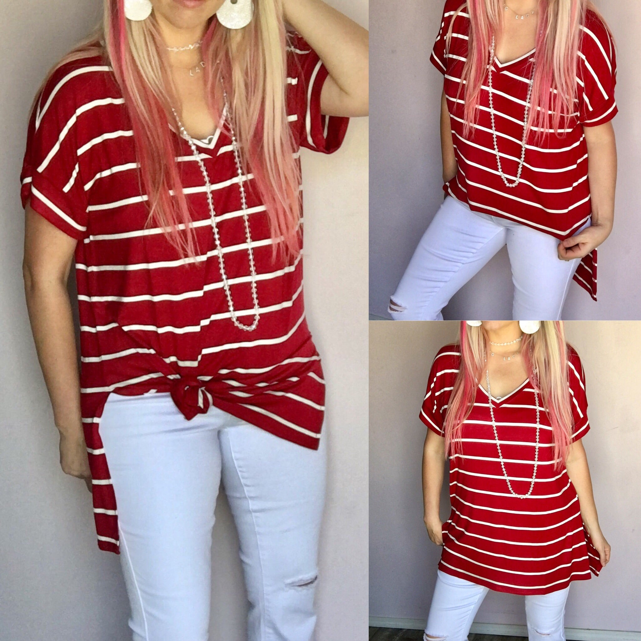 Burgundy Stripe Cuffed Sleeve V-Neck Top
