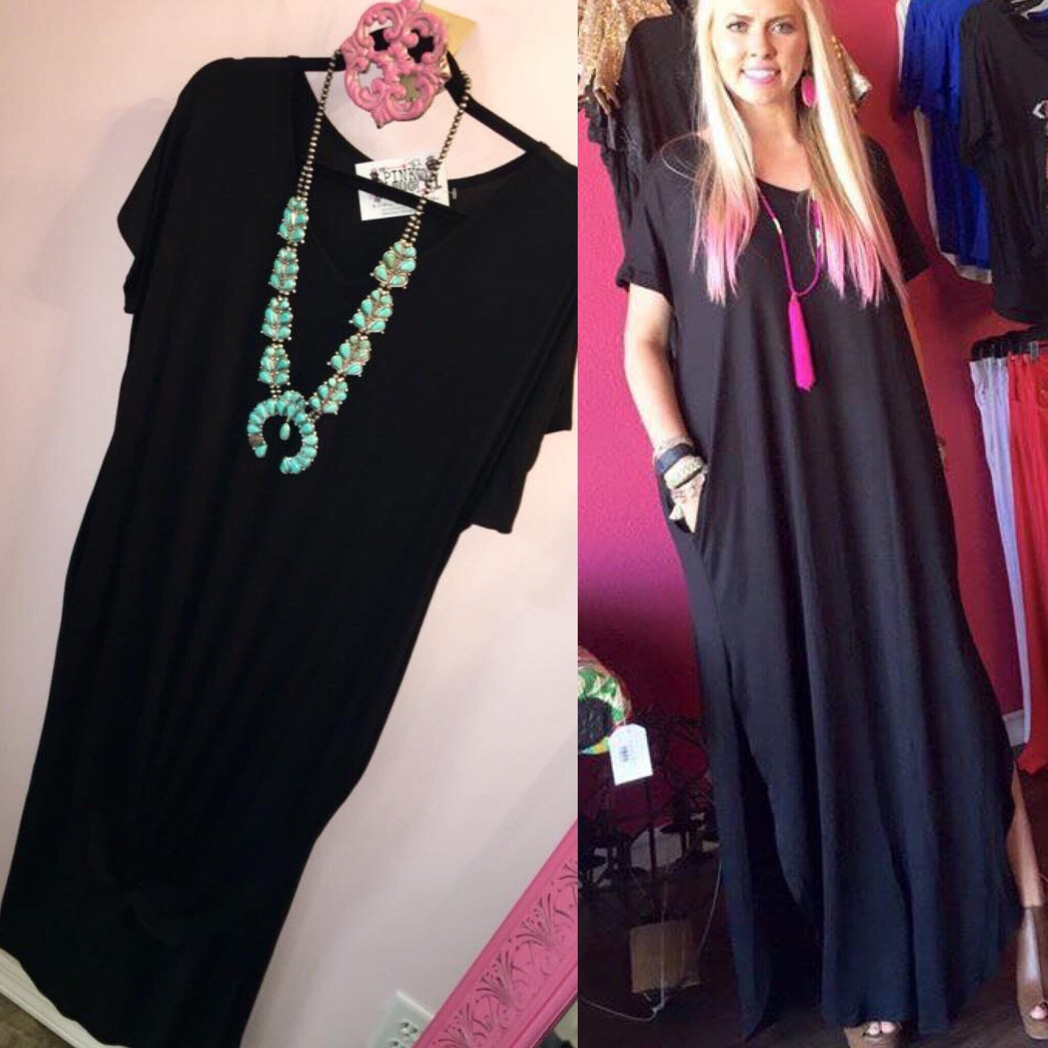 Black Pocket Maxi Dress