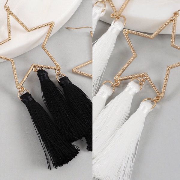 Shooting Star Tassel Earrings- 2 COLORS