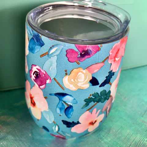Bright Blue Floral Wine Cup