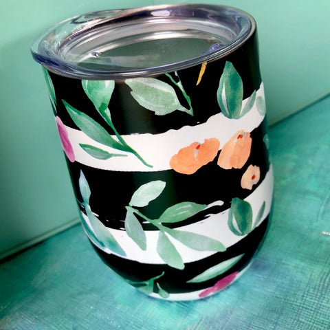 Black Stripe & Floral Wine Cup