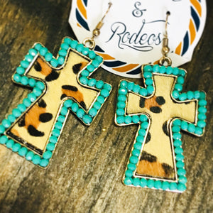 Beaded Leopard Cross Earrings- 3 Colors