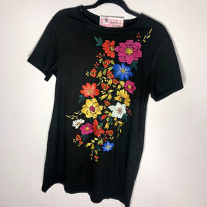 Black Fiesta Embroidered Tee Dress