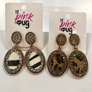 Mini Diamond Lined Leopard Earrings