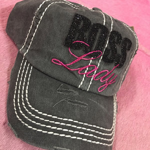 Boss Lady Distressed Baseball Cap