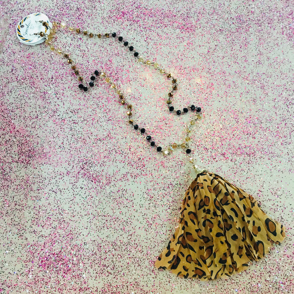 Brown and Black Beaded Leopard Tassel Necklace