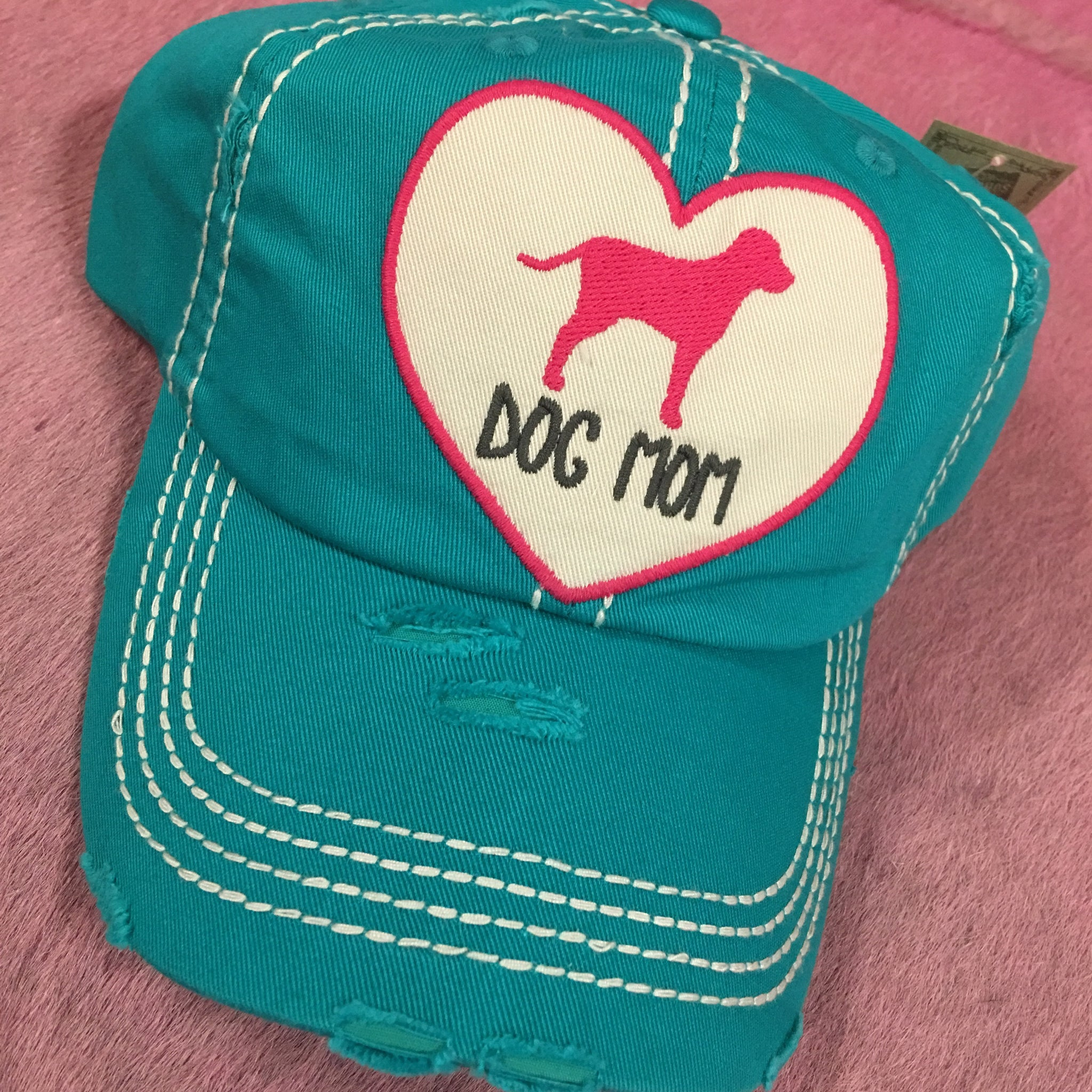 Turquoise & Pink Dog Mom Heart Hat
