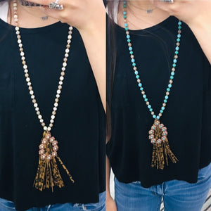 Flower Pendant Leopard Tassel Necklace- 2 Colors
