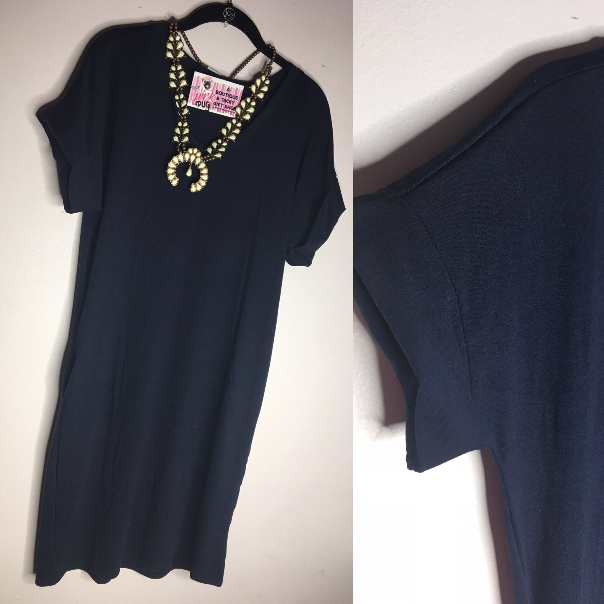 Navy V-Neck T-Shirt Dress