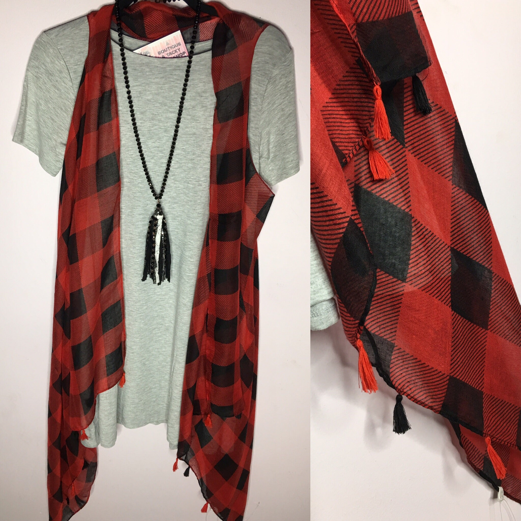 Buffalo Plaid Tassel Vest