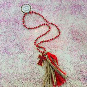 Red Glitter Cross Fabric Tassel Necklace