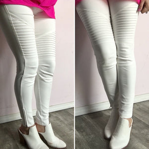 Plus Size White Moto Jeggings