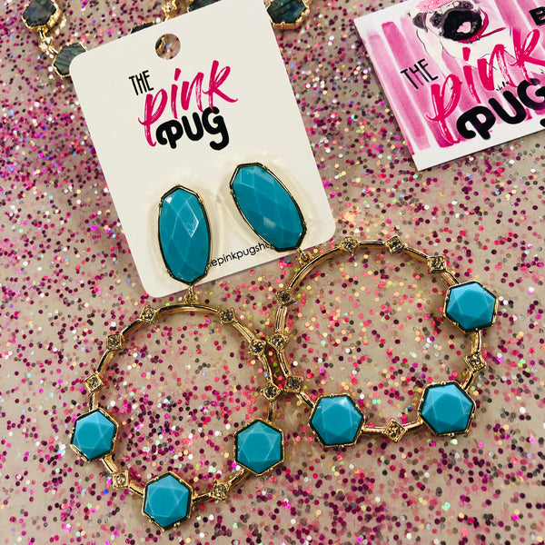 Boho Stone Hoops- 4 COLORS