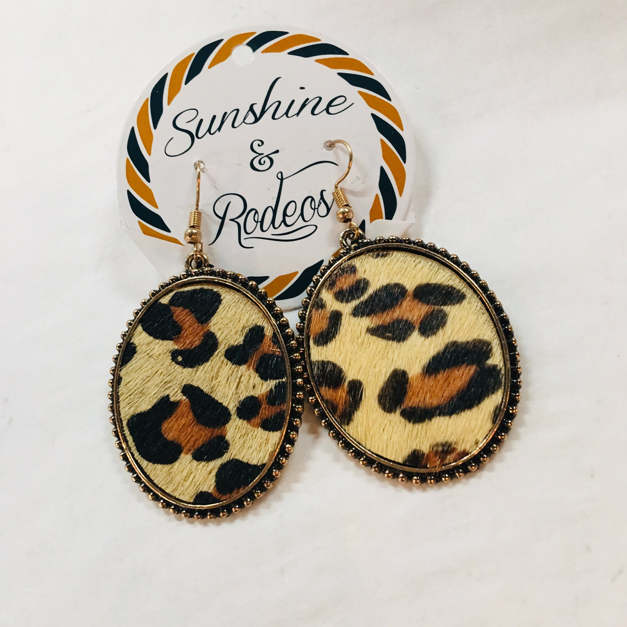 Round Leopard Hide Earrings