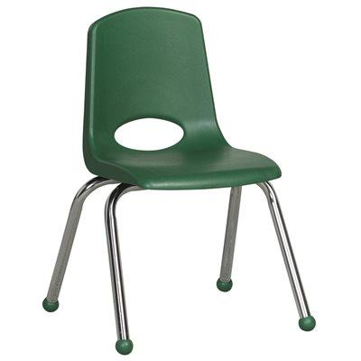 "14"" Classroom Stack Chair - Chrome Leg & Ball Glide - Green"