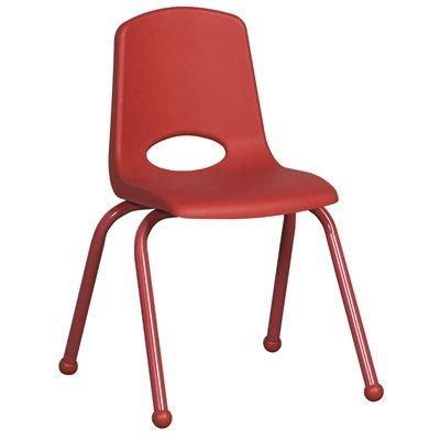 "12"" Classroom Colours Stack Chair - Red Leg & Ball Glide - Red"