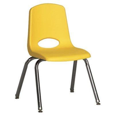 "18"" Classic School Stack Chair - Chrome Leg & Swivel Glide - Yellow"