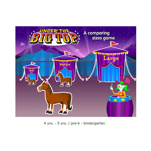 Under The Big Top - Comparing Sizes Interactive Games CD - Single License
