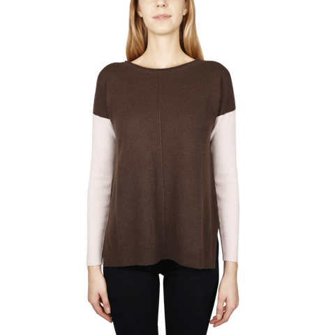 Ribsleeve Sweatshirt - Chocolate/Blush