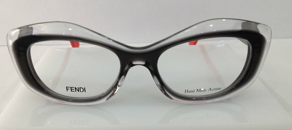 Fendi FF 0030 Grey Smoke/Clear 7NW Plastic Cat Eye Frames 50-18-140 Italy New