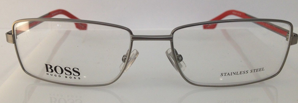 Hugo Boss 0417 Silver/Red X4E Metal Eyeglasses Frame 56-17-140 Authentic Italy