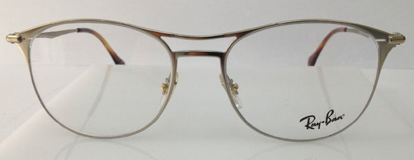 Rayban RB 6254 Light Gold 2754 Metal Round Eyeglasses Frame 50-17-140 Italy New