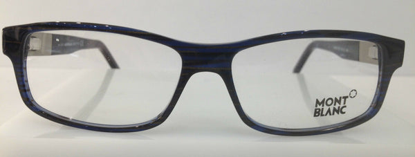 MONT BLANC MB 334 Striped Blue 092 Plastic Eyeglasses Frame 56-14-140 Authentic