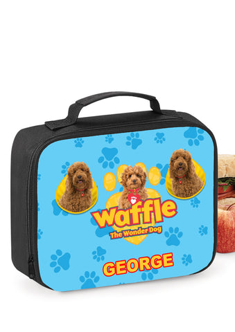 Waffle the wonder dog School Insulated Personalised Lunch bag