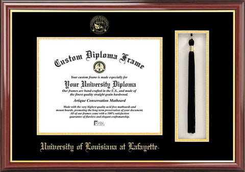 University of Louisiana-Lafayette 11w x 8.5h Tassel Box and Diploma Frame