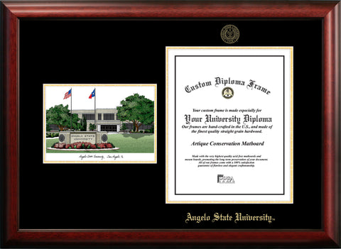 Angelo State University Gold Embossed Diploma Frame with Campus Images Lithograph