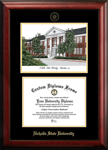 Nicholls State University 11w x 8.5h Gold Embossed Diploma Frame with Campus Images Lithograph