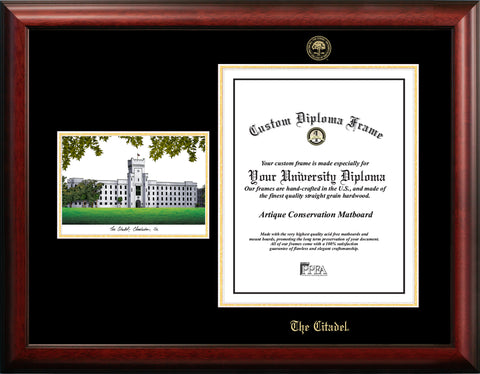 The Citadel 16w x 20h Gold Embossed Diploma Frame with Campus Images Lithograph