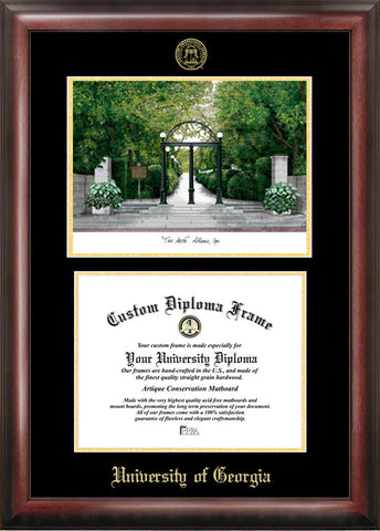 University of Georgia 15w x 12h Gold Embossed Diploma Frame with Campus Images Lithograph