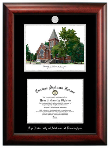 Abilene Christian University 11w x 8.5h Silver Embossed Diploma Frame with Campus Images Lithograph