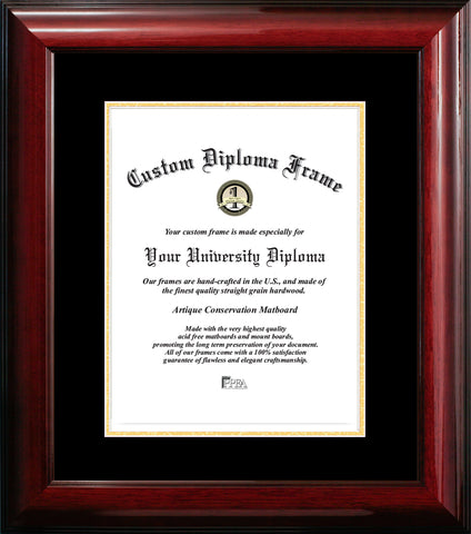 Classic Mahogany Certificate Frame with Black & Gold Mats