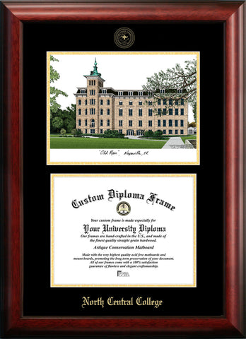North Central College 11w x 8.5h Gold Embossed Diploma Frame with Campus Images Lithograph