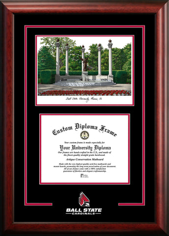 Ball State University 10w x 8h  Spirit Graduate Diploma Frame with Campus Images Lithograph