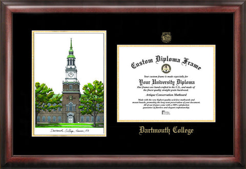 Dartmouth College 16w x 12h Gold Embossed Diploma Frame with Campus Images Lithograph