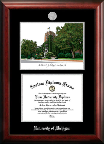 University of Michigan 11w x 8.5h Silver Embossed Diploma Frame with Campus Images Lithograph