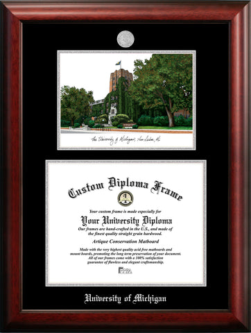 University of Michigan 14w x 11h Silver Embossed Diploma Frame with Campus Images Lithograph