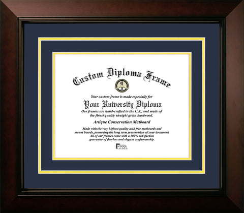 University of Michigan Wolverines 11w x 8.5h Navy and Yellow  Diploma Frame