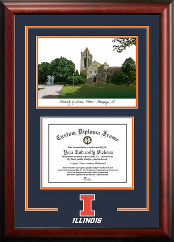 University of Illinois Fighting Illini,  11w x 8.5h Spirit Graduate Diploma Frame