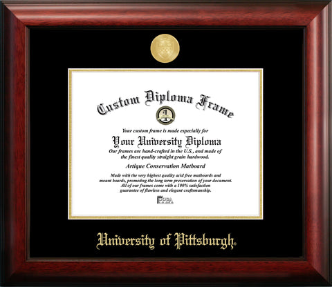 University of Pittsburgh 11w x 8.5h Gold Embossed Diploma Frame