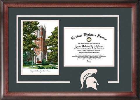 Michigan State University Beaumont Hall 11w x 8.5h Spirit Graduate Frame with Campus Image