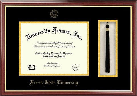 Ferris State University 11w x 8.5h Tassel Box and Diploma Frame